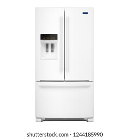 White Refrigerator with Food Isolated on White Background. Front View of Stainless Steel Counter-Depth French Door Side by Side Fridge Freezer. Kitchen and Domestic Appliances