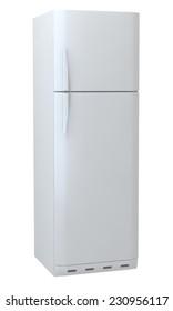 white refrigerator isolated on white background.