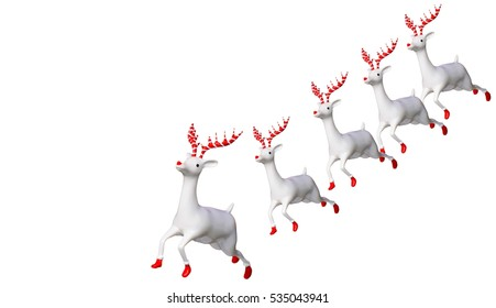 white reindeer doll for decoration Christmas, New Year.isolated on white background