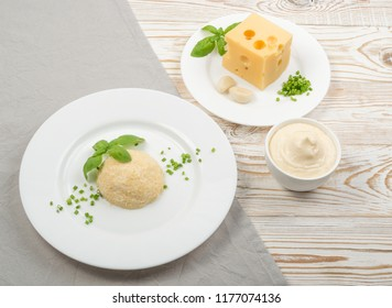 White Restaurant Plate of Feta Cheese Spreading Mezze with Garlic, Green Onion and Basil. Finely Grated Emmental and Maasdam Cheeses Fragrant Spice Paste or Pate Mixed with Mayonnaise Sauce