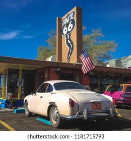 White retro car on route 66. Arizona. USA. Spring 2015