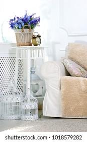 White retro interior.Scandinavian interior design.
