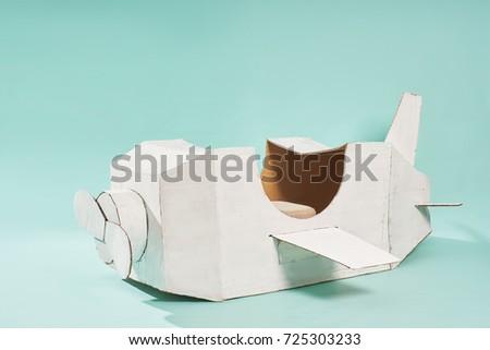 White Retro Style Cardboard Airplane On Stock Photo (Edit