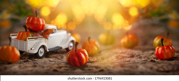 White retro truck with pumpkins in forest with festive bokeh background. Concept of Thanksgiving day, Halloween and autumn postcards.