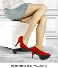 white retro wall and gray floor and red heels and woman and skirt