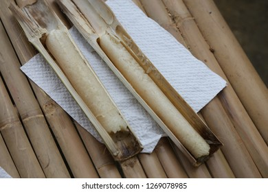 white rice in the bamboo