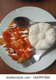 white rice and chicken katsu