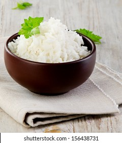 White rice. Selective focus