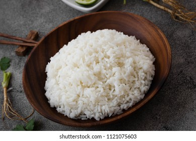 White rice in wood bowl