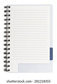 White ring-bound notebook on isolated white background