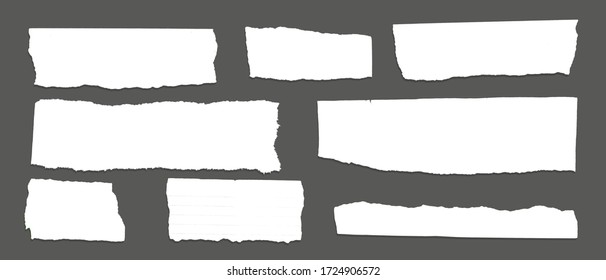 White ripped note, notebook paper stuck with sticky tape on black background.
