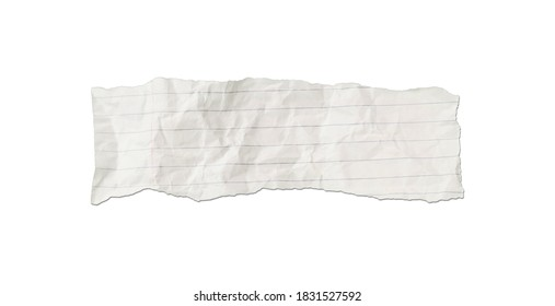 White ripped note, notebook paper stuck with sticky tape on white background.