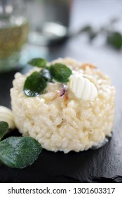white risotto with butter and sage