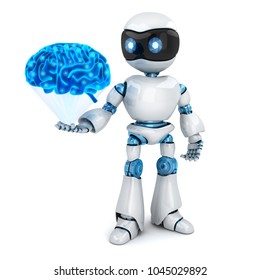 White robot and abstract blue brain. 3d illustration