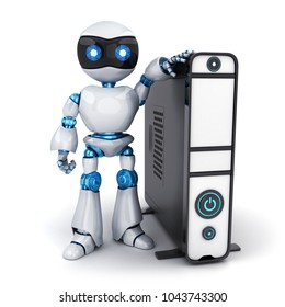 White robot and computer on white background. 3d illustration