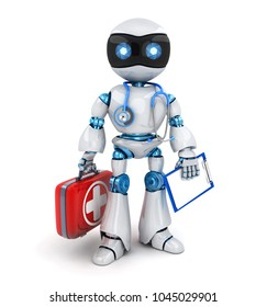 White robot doctor and red case, stethoscope. 3d illustration