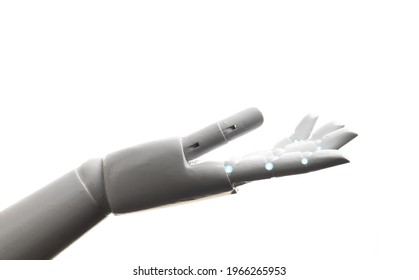 White robot hand open gesture isolated on white background