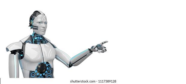 White robot isolated on the white. 3d illustration.