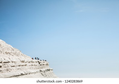 White rock and blue sky on background