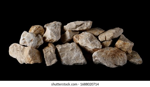 White rock isolated on black background and texture, clipping path