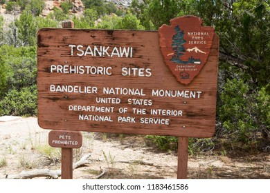 WHITE ROCK, NEW MEXICO USA - AUGUST 6 2018. The Tsankawi Prehistoric Site National Monument Sign near White Rock New Mexico, USA