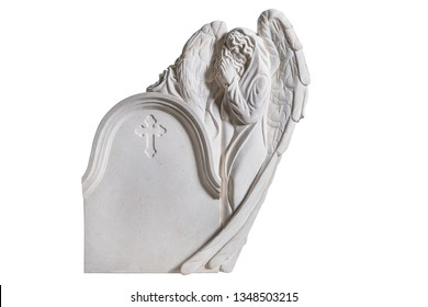 White rock sculpture tombstone for graveyard with angel praying