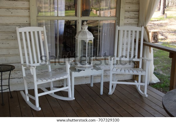 Miraculous White Rocking Chairs On Florida Georgia Stock Photo Edit Gmtry Best Dining Table And Chair Ideas Images Gmtryco