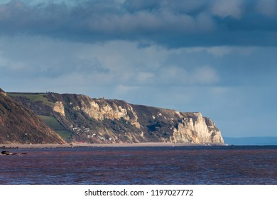White Rocks near Salcombe Regis on the south coast of Devon. View from the city of Sidmouth. UK