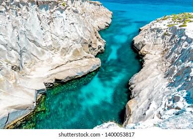 White rocks, Sarakiniko, Milos, Cyclades, Greece.