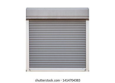 White roller shutter garage window isolated on white background