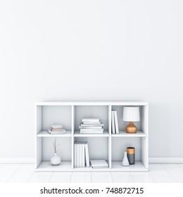 White room with white bookshelf, wall mockup, 3d rendering
