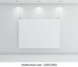 white room and cardboard on wall
