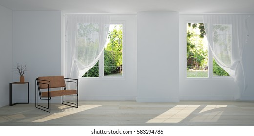 White room with chair and garden view from window. Scandinavian interior design. 3D illustration of pool villa room.