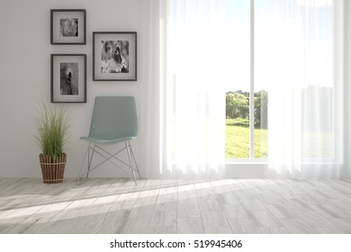 White room with chair and green landscape in window. Scandinavian interior design. 3D illustration