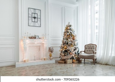 White room with Christmas and New Year decorated interior