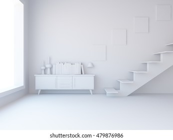 White room with dresser and stairs. Living room interior. Scandinavian interior. 3d illustration