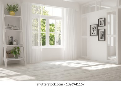 White room with home decor and summer landscape in window. Scandinavian interior design. 3D illustration