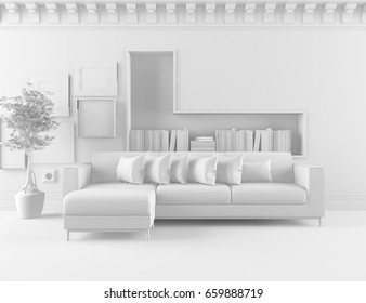 White room interior. 3d illustration