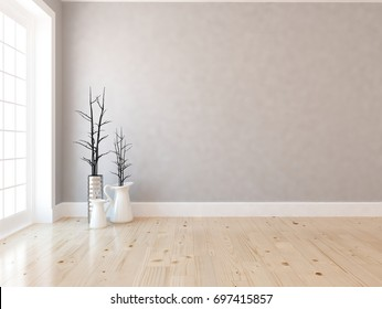 White room interior. 3d illustration