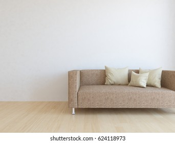 white room interior with furniture. Scandinavian interior. 3d illustration