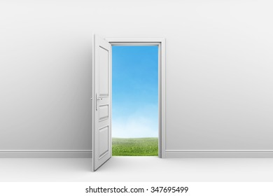 White room with open door. Green grass lawn outdoors.