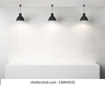white room with presentation cube and three lamp