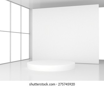 White room with a round pedestal. 3d render