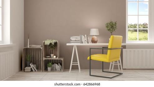 White room. Scandinavian interior design. 3D illustration