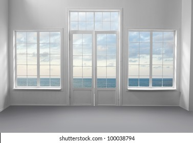 White room with sea view
