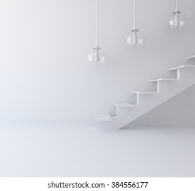 white room with stairs. White interior.3d illustration