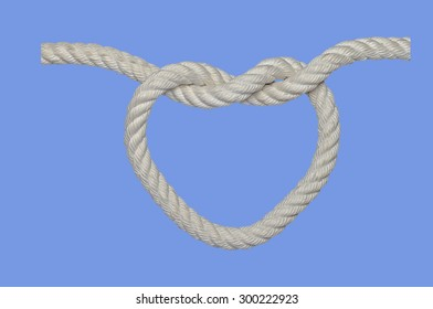A white rope in a romantic heart shape
