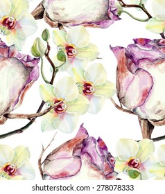 White rose and orchid, watercolor, pattern seamless