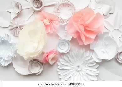 white and rose paper flowers