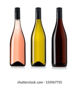 white, rose, and red wine bottles set isolated on white